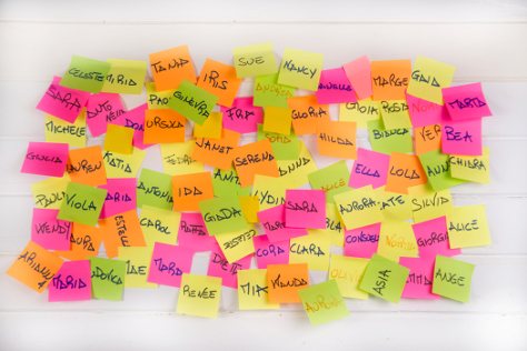 Baby names post it notes with names