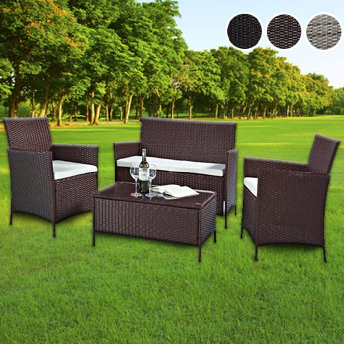 4-Piece Rattan Garden Furniture Set with XL Table - 3 Colours