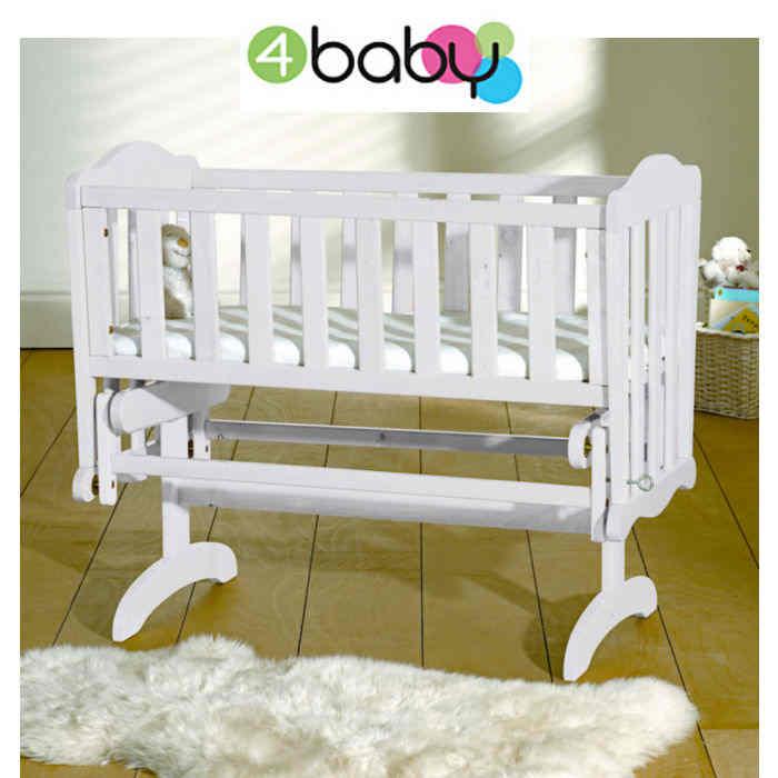 4baby Classic Glider Crib  Safety Mattress  White