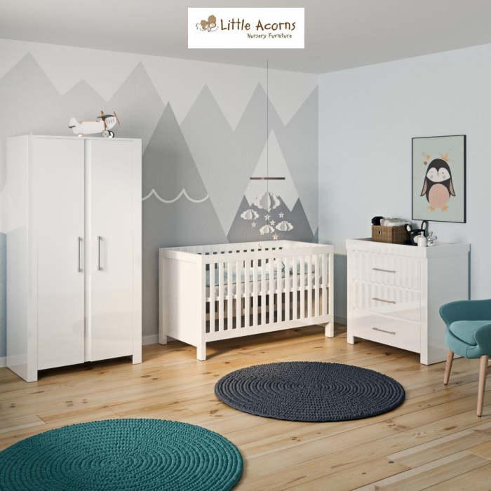 Little Acorns Snow High Gloss 5 Piece Nursery Room