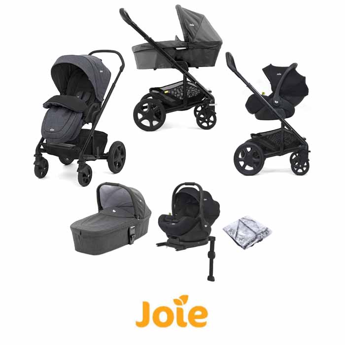 Joie Chrome DLX iLevel Travel System With Carrycot inc Footmuff ISOFIX Base Pavement
