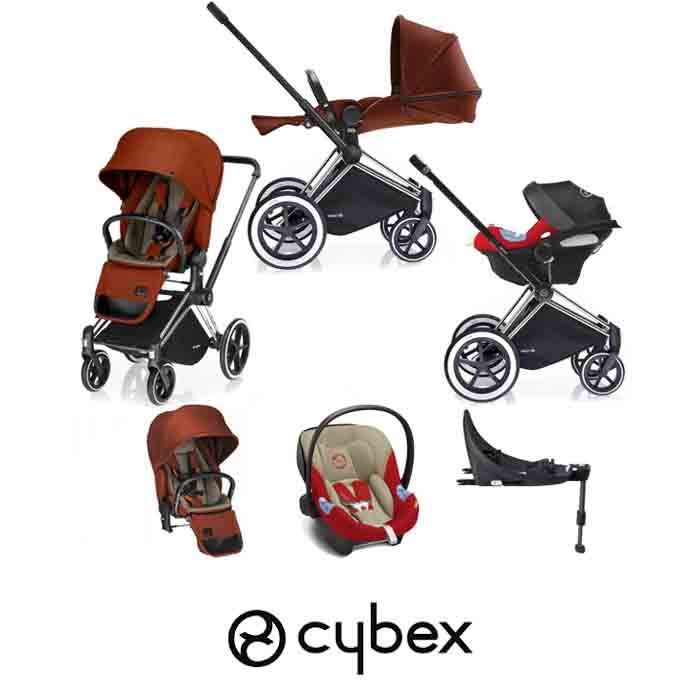 Cybex Priam Lux Platinum Aton M iSize Travel System with Base Autumn Gold