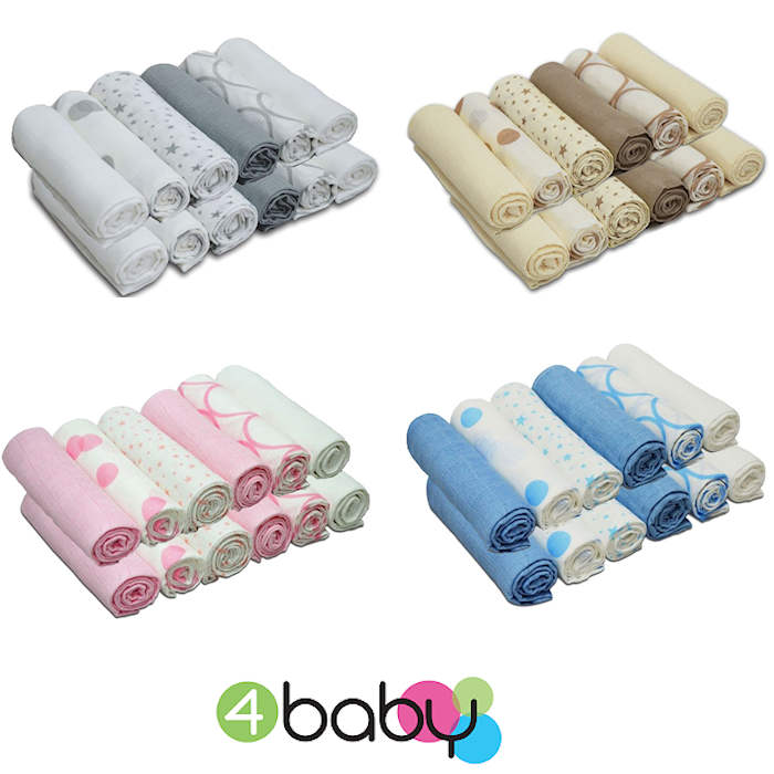 4baby Cotton Muslin Squares (12 Pack)