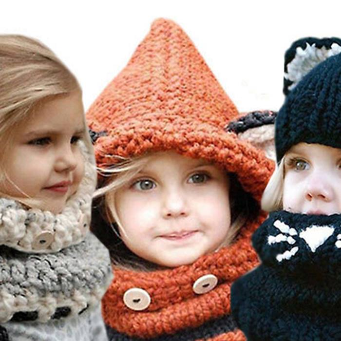 Kids' Knitted Animal Hood Scarf - 3 Colours