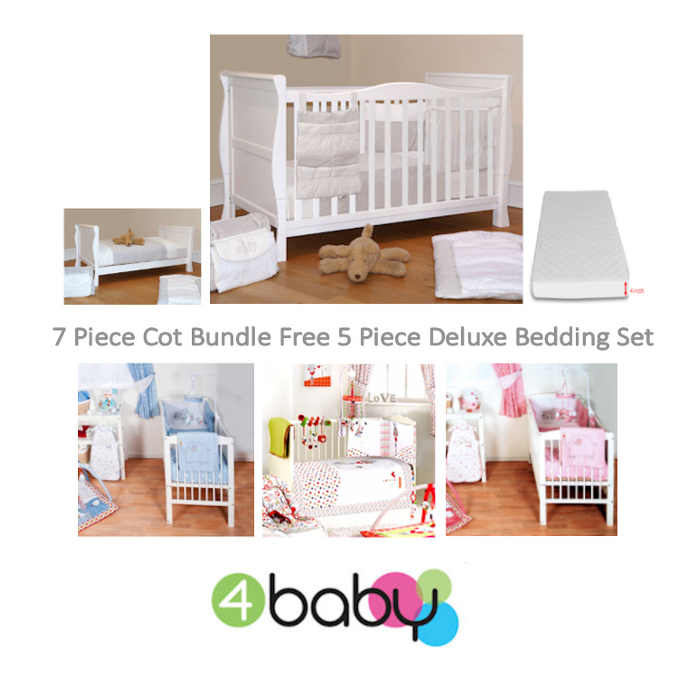 4baby sleigh cot bed and 8 piece bedding