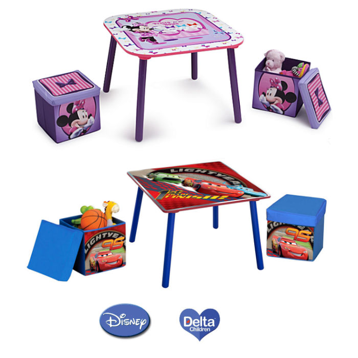 Delta Children Table  Ottoman Stools Set  Disney