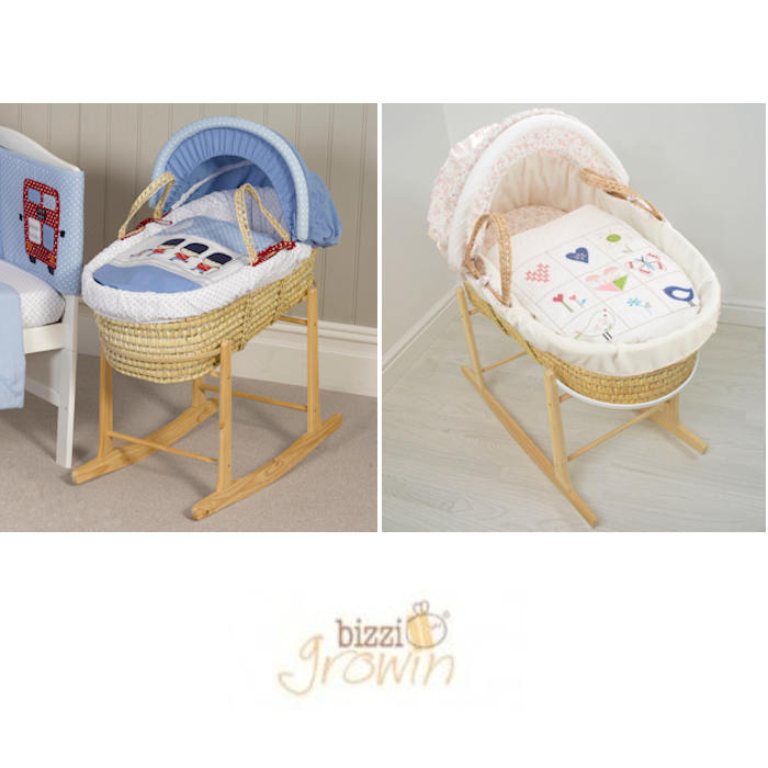 Bizzi Growin Deluxe Padded Palm Moses Basket  Rocking Stand