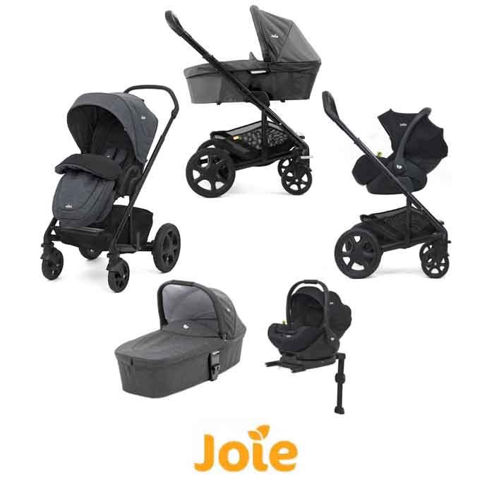 Joie Chrome DLX (i-Level) Travel System With Carrycot (inc Footmuff & ISOFIX Base)