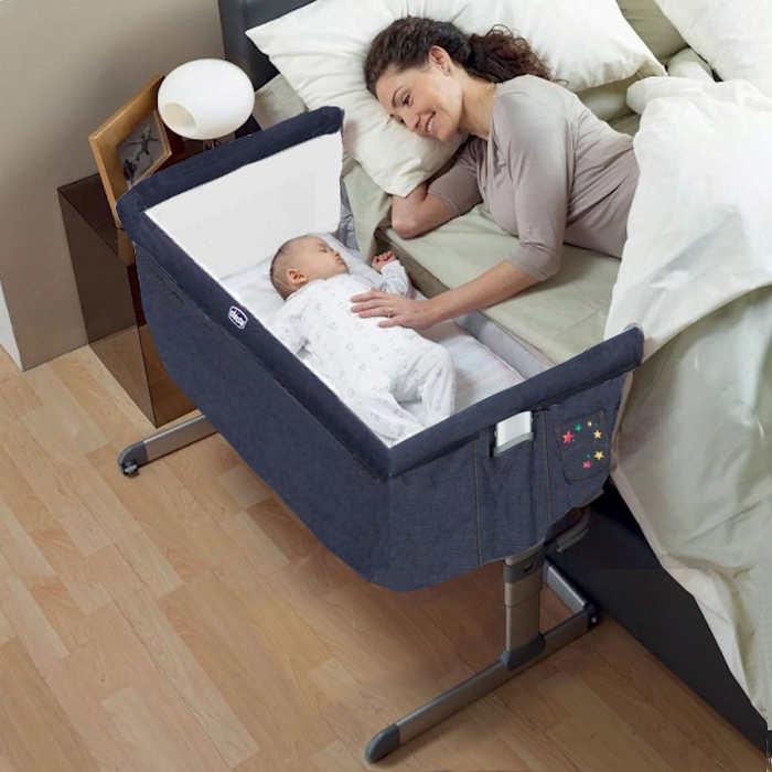 Next 2 Me Crib in use - denim
