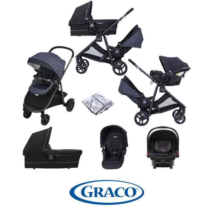Graco Time2Grow Tandem Travel System SnugEssentials ISIZE Car Seat with Carrycot Denim Black