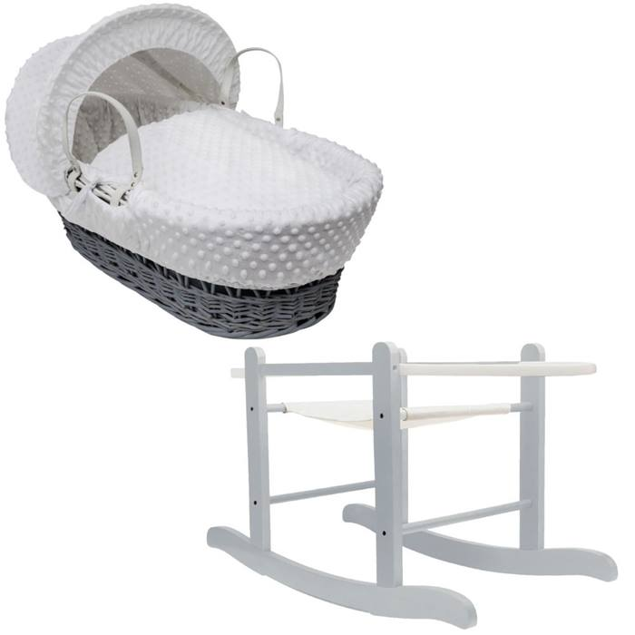 Kinder Valley Grey Wicker Moses Basket & Rocking Stand (Dimple White)