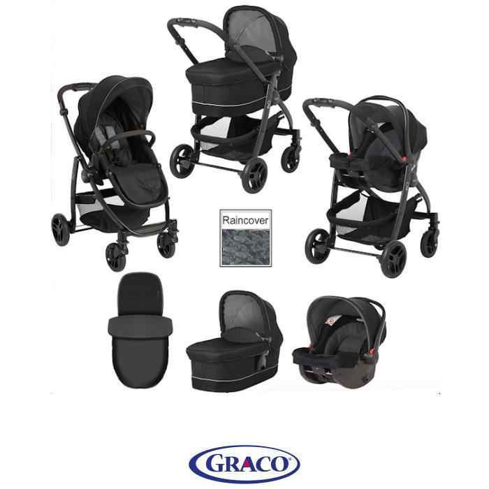 Graco Evo 3 in 1 Carrycot Travel System - Black Grey
