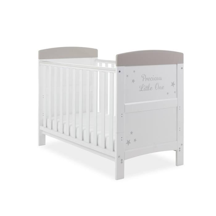 PreciousLittleOne Mini Cot Bed & Foam Mattress (White with Grey Stars)