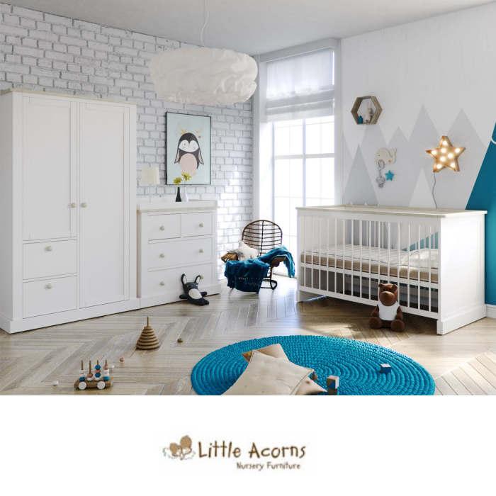 Little Acorns Luxury Sophia Cot Bed 5 Piece Nursery Furniture Set With Deluxe 4inch Foam Mattress