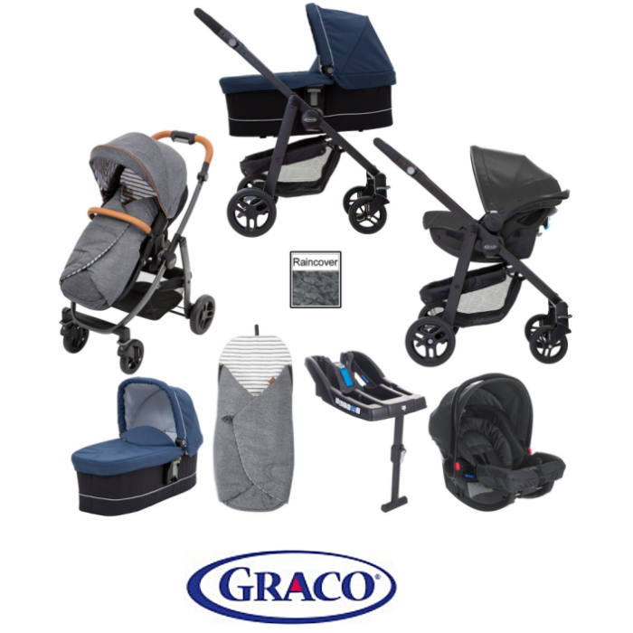 Graco Evo Avant Travel System With Carrycot & Base - Breton Stripe  Ink