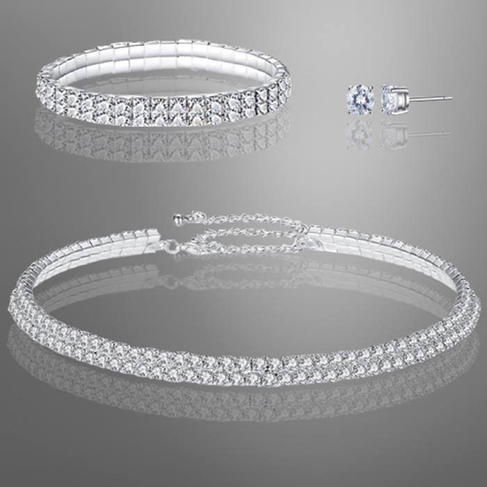 Double Row Tri-Set With Crystals From Swarovski - Silver or Rose Gold