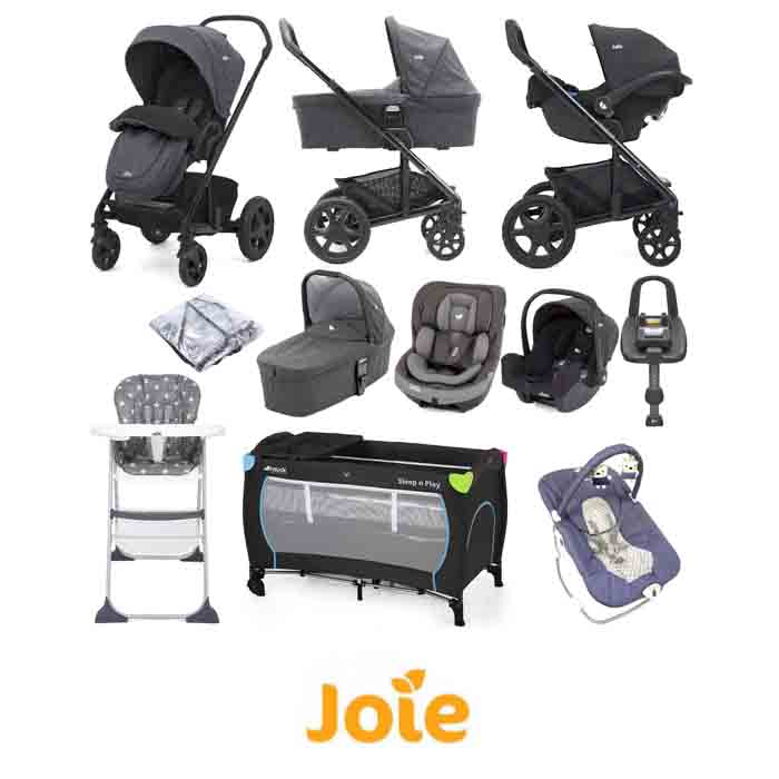 Joie Chrome DLX (i-Snug & i-Venture Car Seat) Everything You Need Travel System With Carrycot and ISOFIX Base Bundle