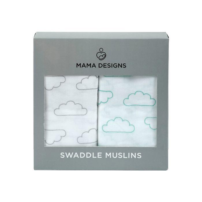Mama Designs Muslin Swaddle 2PK - Cloud