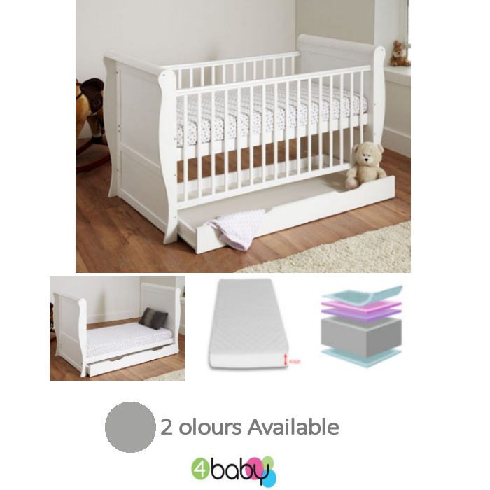 4baby sleigh cot bed - white - grey