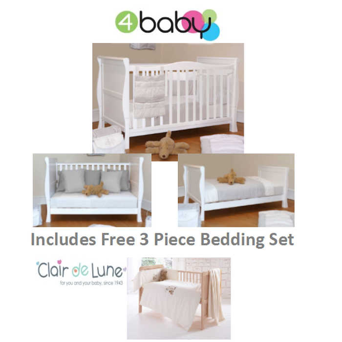 sleigh cot bed white cute as a button bedding