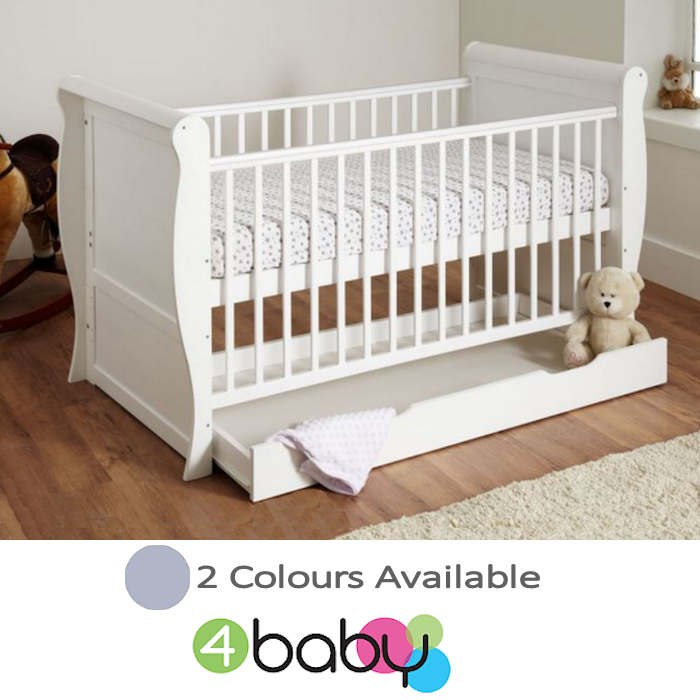 4Baby Sleigh Deluxe Cot Bed With Storage Drawer & Foam Mattress
