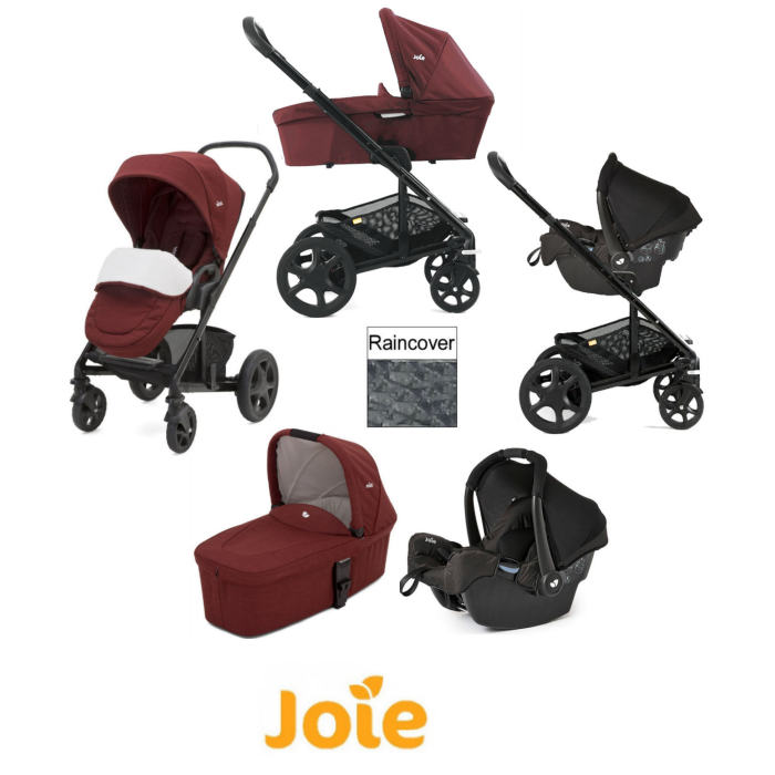 Joie Chrome DLX Travel System with Gemm Car Seat, Carrycot & Footmuff