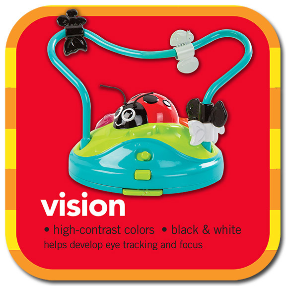 vision • high-contrast colours • black & white • helps develop eye tracking and focus