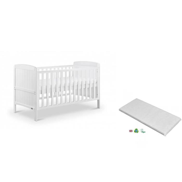 Babylo Sienna Cot Bed & Mattress (White)