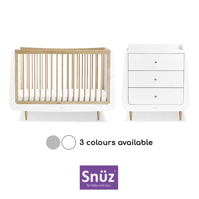 Snuz SnuzKot 4 Piece Cot Bed Nursery Furniture Room Set With Dresser & Free Maxi Air Cool Mattress
