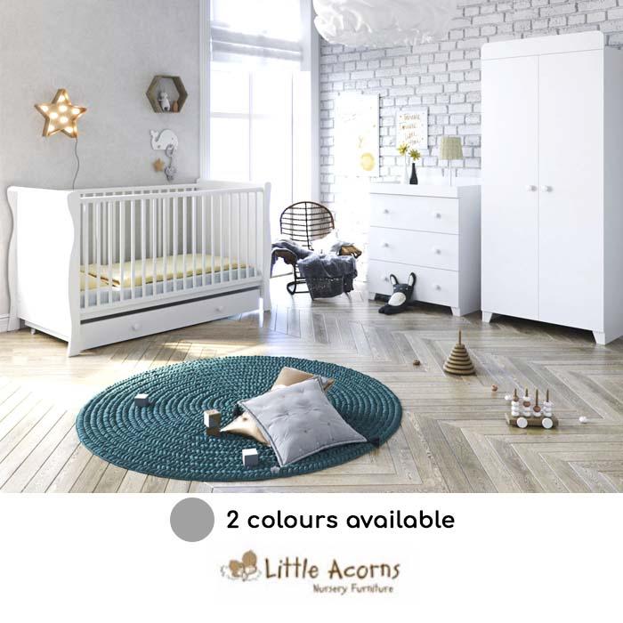 Little Acorns Sleigh Cot Bed 5 Piece Nursery Furniture Set With Deluxe 4inch Foam Mattress