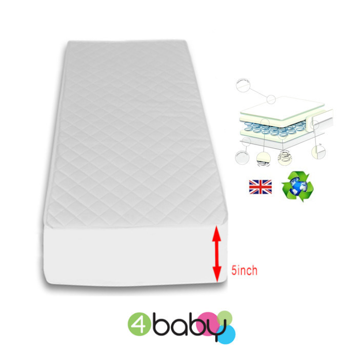 4Baby 5 Inch Luxury Hypo Allergenic Quilted Spot Sprung Cot bed Mattress 140 x 70