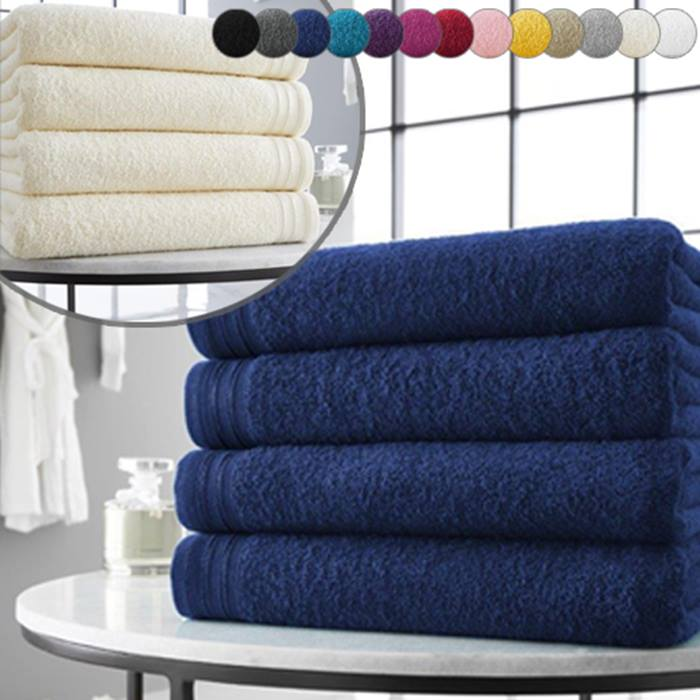 4 x Wilsford Egyptian Cotton Jumbo Bath Towels - 13 Colours