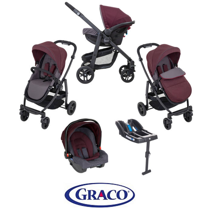 Graco Evo (SnugRide R44) Pushchair Travel System with R44 Car Seat Safety Base - Crimson