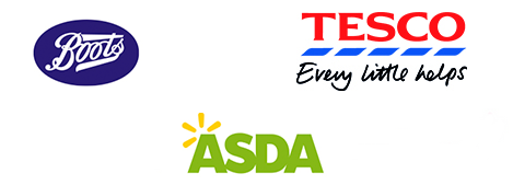 Boots, Tesco, Asda, Superdrug