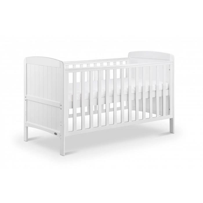 Babylo Sienna Cot Bed & Mattress (White)
