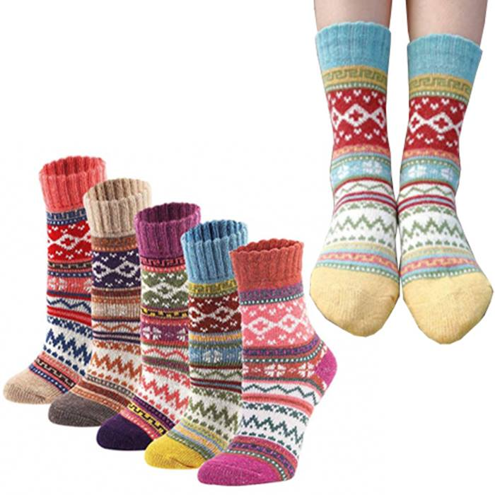 5 or 10 Pairs Cotton-Blend Winter Socks - Nordic Print!
