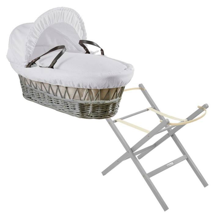 Clair de Lune Grey Wicker Moses Basket & Folding Stand Bundle (Cotton Dream White)
