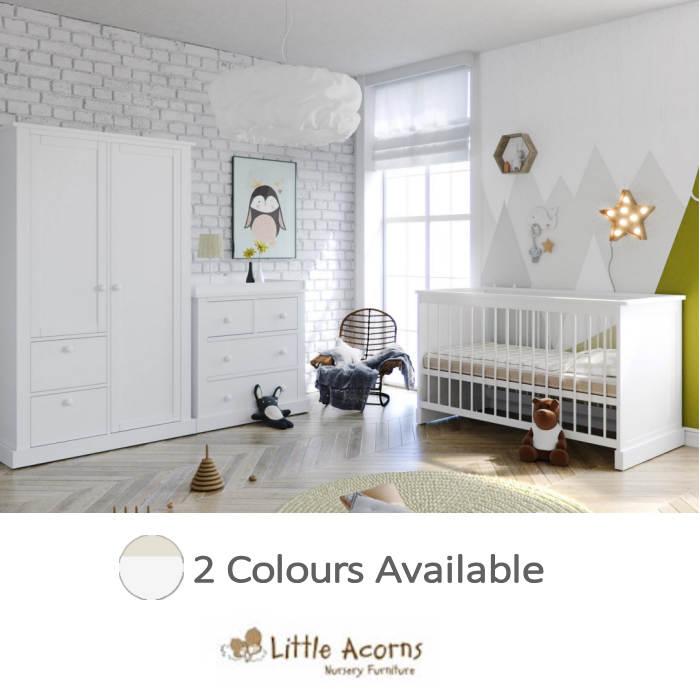 Little Acorns Luxury Sophia Cot Bed 5 Piece Nursery Room Set With Deluxe 4inch Foam Mattress