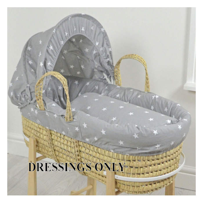 4baby Palm Moses Basket 3 Piece Dressing Set - Grey - White Stars