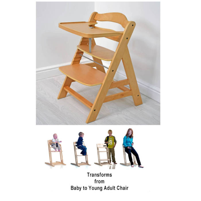 Cuddles Collection Wooden Adjustable Highchair - Natural