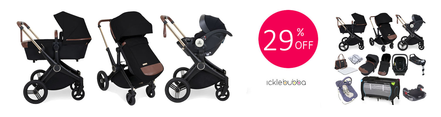 Ickle Bubba Aston Rose (Mercury) 13 Piece Everything You Need Travel System Bundle with ISOFIX Base