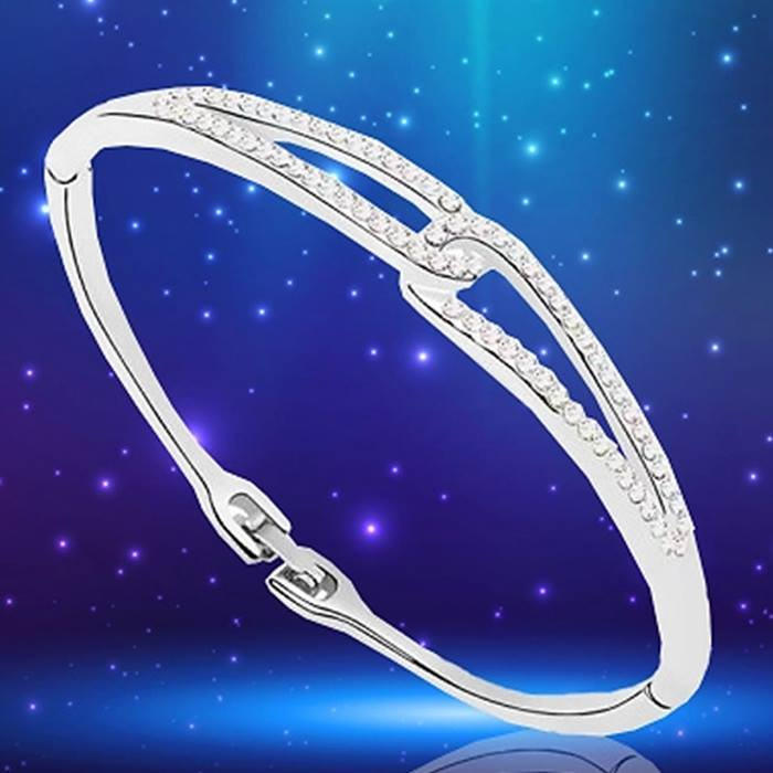 18K White Gold Plated Infinity Bangle With Swarovski Elements - 1 or 2