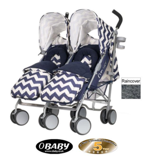 Obaby Leto Plus Twin Stroller - Zig Zag Navy