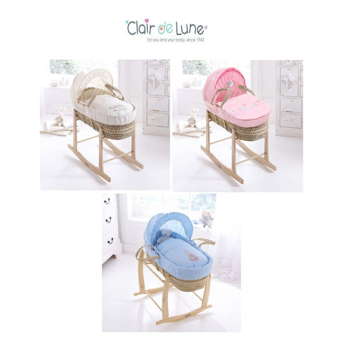 Clair De Lune  Palm Moses Basket  Rocking Stand