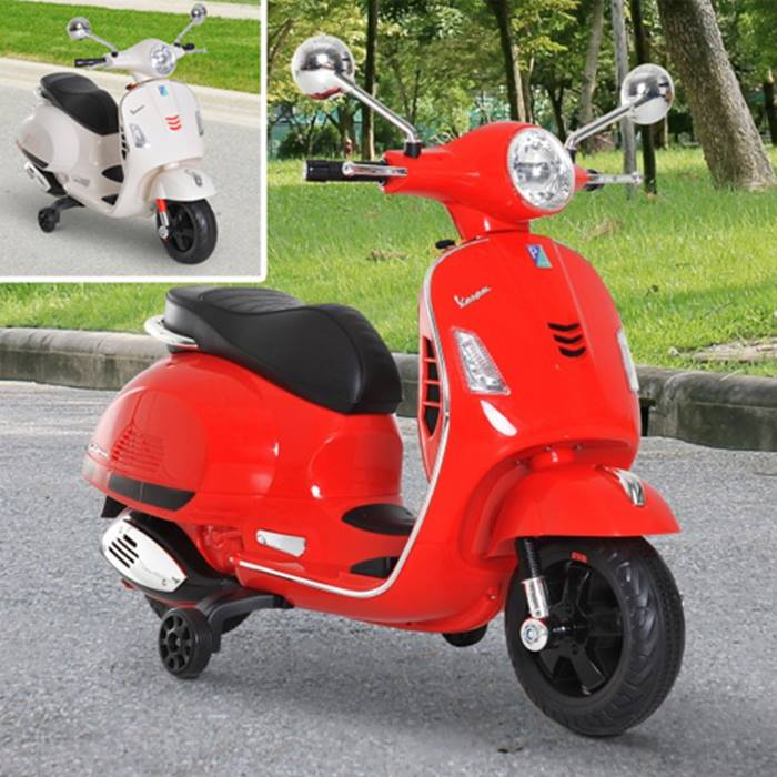 6V Licensed Vespa Kids Ride On Motorcycle - 2 Colours
