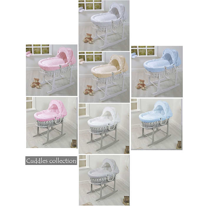Cuddles Wicker Moses Basket With Stand dimple grey white
