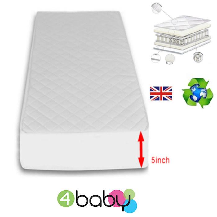 4Baby 5 Inch Luxury Sprung Cot Bed Safety Mattress 140 x 70cm