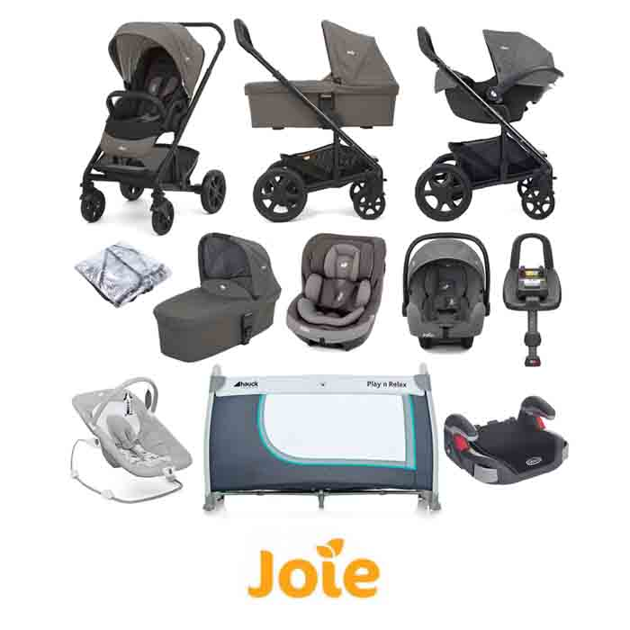 Joie Chrome Trio (i-Snug & i-Venture) Everything You Need Travel System with Carrycot & ISOFIX Base Bundle