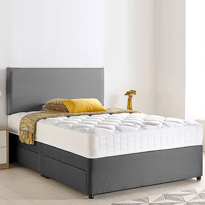 Grey Chenille Divan Bed, Headboard & Memory Mattress plus Optional Storage - 6 Sizes