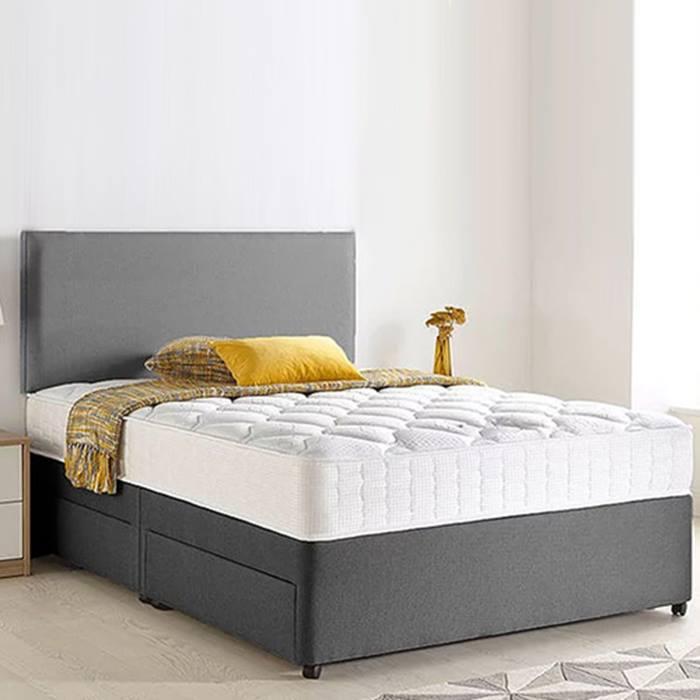 Grey Chenille Divan Bed, Headboard & Memory Mattress plus Optional Storage - 6 Sizes